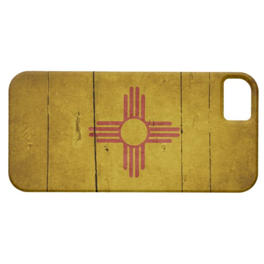Rugged Wood New Mexico Flag iPhone SE/5/5s Case