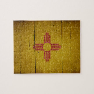 Rugged Wood New Mexico Flag Jigsaw Puzzles