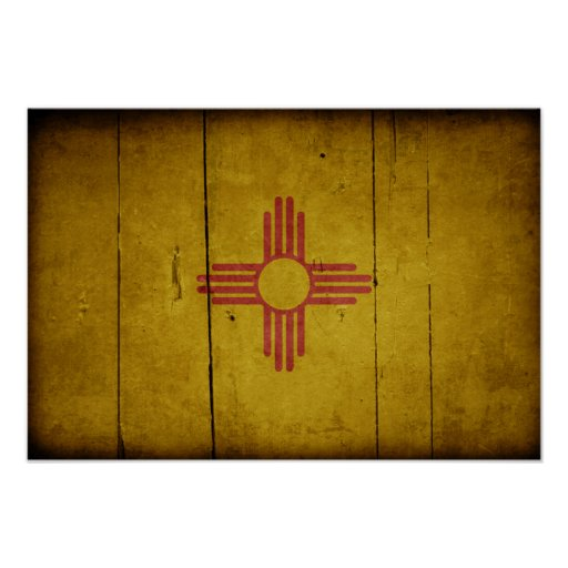 Rugged Wood New Mexico Flag Poster