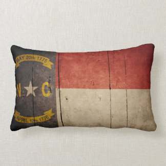 Rugged Wood North Carolina Flag Lumbar Pillow
