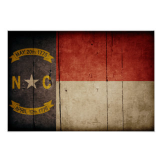 Rugged Wood North Carolina Flag Poster