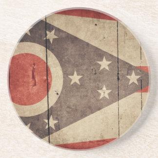 Rugged Wood Ohio Flag Beverage Coaster