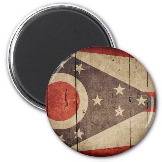 Rugged Wood Ohio Flag Magnet