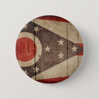 Rugged Wood Ohio Flag Pinback Button