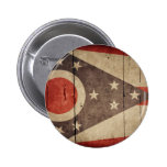 Rugged Wood Ohio Flag Pinback Buttons