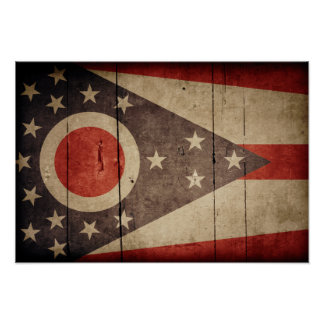 Rugged Wood Ohio Flag Poster