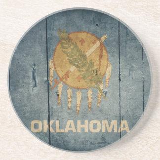 Rugged Wood Oklahoma Flag Beverage Coaster