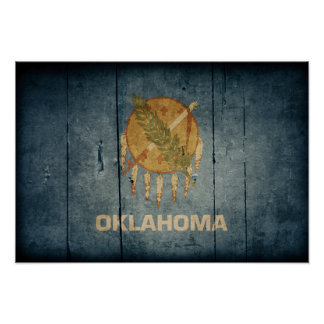 Rugged Wood Oklahoma Flag Posters