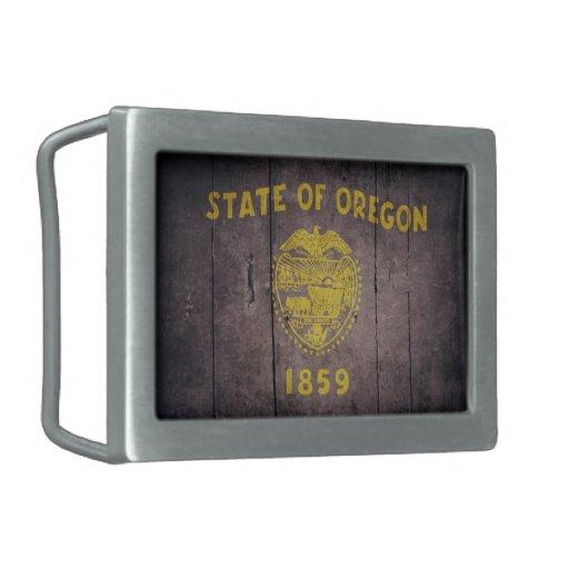 Rugged Wood Oregon Flag Belt Buckles