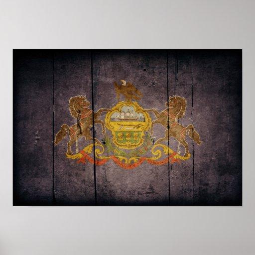 Rugged Wood Pennsylvania Flag Posters