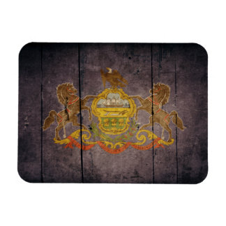 Rugged Wood Pennsylvania Flag Magnets