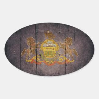 Rugged Wood Pennsylvania Flag Oval Sticker