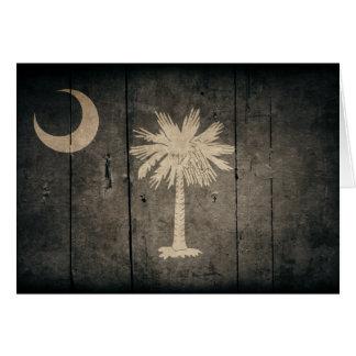 Rugged Wood South Carolina Flag Greeting Cards