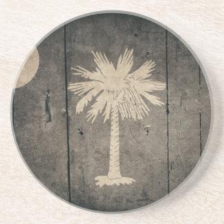 Rugged Wood South Carolina Flag Drink Coaster