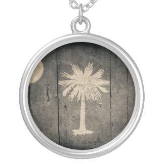 Rugged Wood South Carolina Flag Personalized Necklace