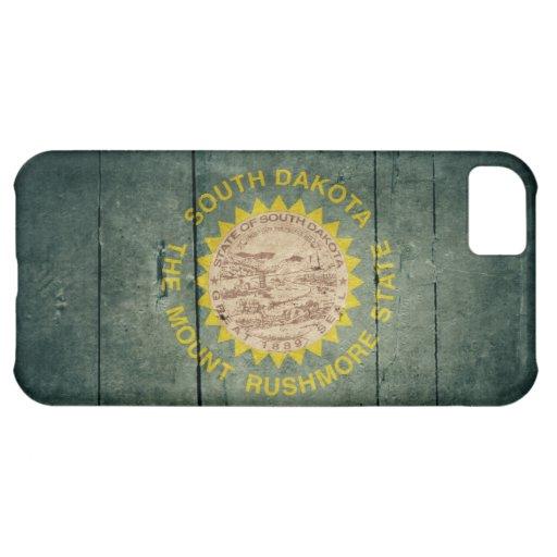Rugged Wood South Dakota Flag Cover For iPhone 5C
