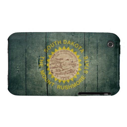 Rugged Wood South Dakota Flag iPhone 3 Covers