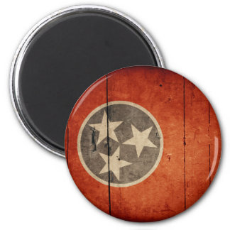 Rugged Wood Tennessee Flag 2 Inch Round Magnet