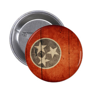 Rugged Wood Tennessee Flag Pinback Buttons