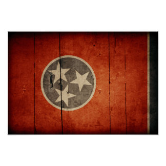 Rugged Wood Tennessee Flag Poster