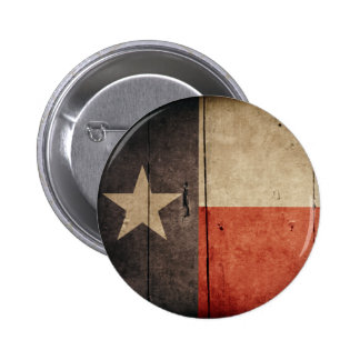 Rugged Wood Texas Flag Pinback Button