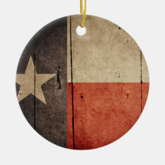 Rugged Wood Texas Flag Christmas Tree Ornament