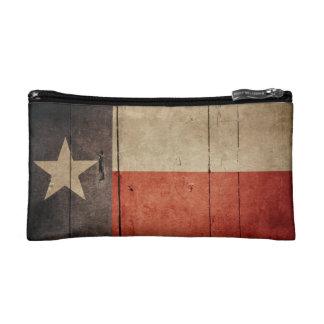Rugged Wood Texas Flag Cosmetic Bag