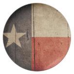 Rugged Wood Texas Flag Dinner Plate