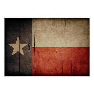 Rugged Wood Texas Flag Poster