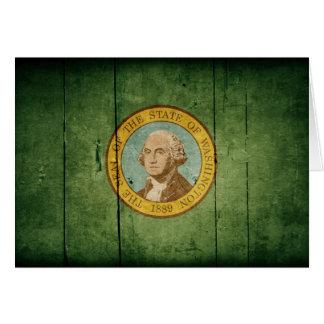 Rugged Wood Washington Flag Card