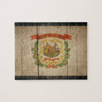 Rugged Wood West Virginia Flag Jigsaw Puzzle