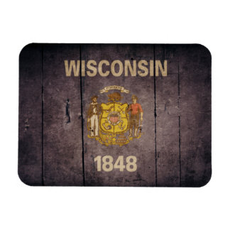 Rugged Wood Wisconsin Flag Magnet