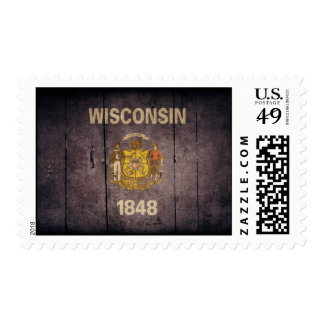 Rugged Wood Wisconsin Flag Postage Stamps