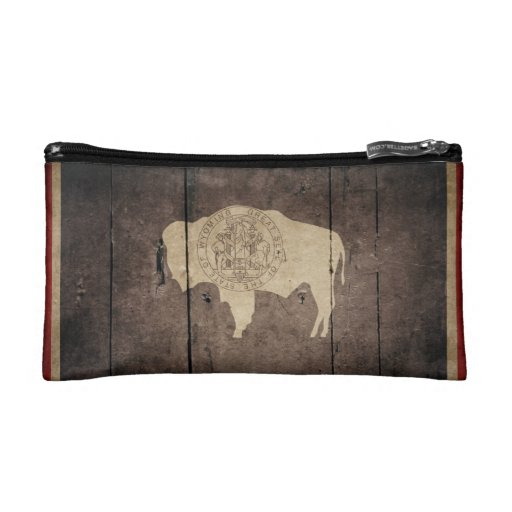 Rugged Wood Wyoming Flag Cosmetics Bags