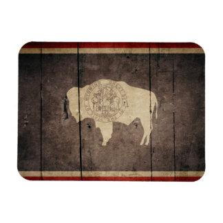 Rugged Wood Wyoming Flag Magnet