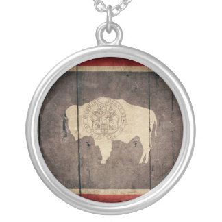 Rugged Wood Wyoming Flag Personalized Necklace
