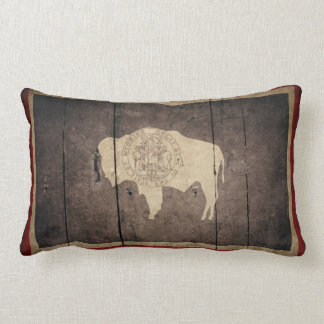 Rugged Wood Wyoming Flag Throw Pillows