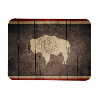 Rugged Wood Wyoming Flag Rectangle Magnet