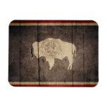 Rugged Wood Wyoming Flag Rectangular Photo Magnet