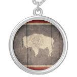 Rugged Wood Wyoming Flag Round Pendant Necklace