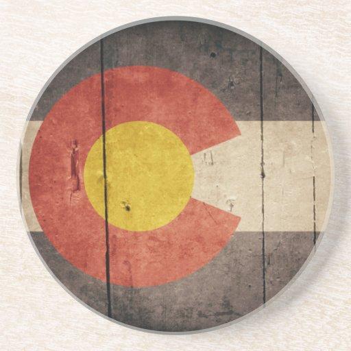 Rugged Wooden Colorado Flag Coaster