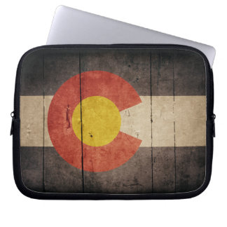 Rugged Wooden Colorado Flag Computer Sleeve