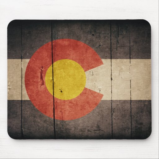 Rugged Wooden Colorado Flag Mouse Pad