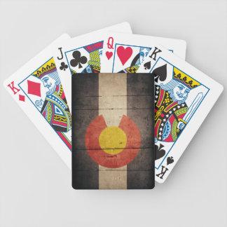 Rugged Wooden Colorado Flag Card Decks