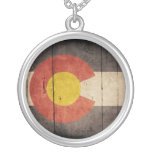 Rugged Wooden Colorado Flag Round Pendant Necklace