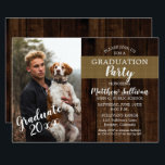 """Rugged Woodsy Photo Graduation Party Card<br><div class=""""desc"""">Rugged woodsy dark wood and burlap look photo graduation party invitation design by Holiday Hearts Designs with template photo credit to Talen de St. Croix of Unsplash.</div>"""