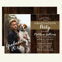 Rugged Woodsy Photo Graduation Party Invitation