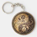 Rugged Yin Yang Roses Keychain