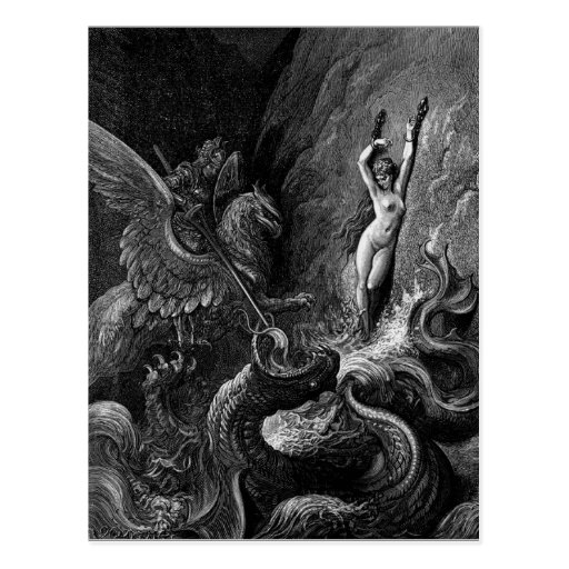 Ruggiero Rescuing Angelica by Gustave Doré Post Card