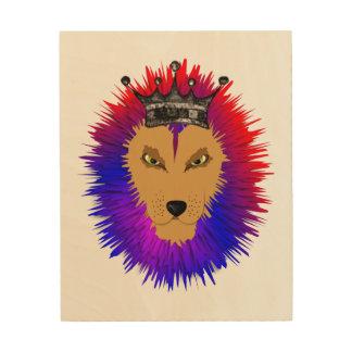 Rugido colorido del rey león de la selva cuadros de madera